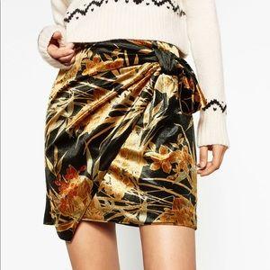 Zara Velvet Wrap Skirt with Tie Detail